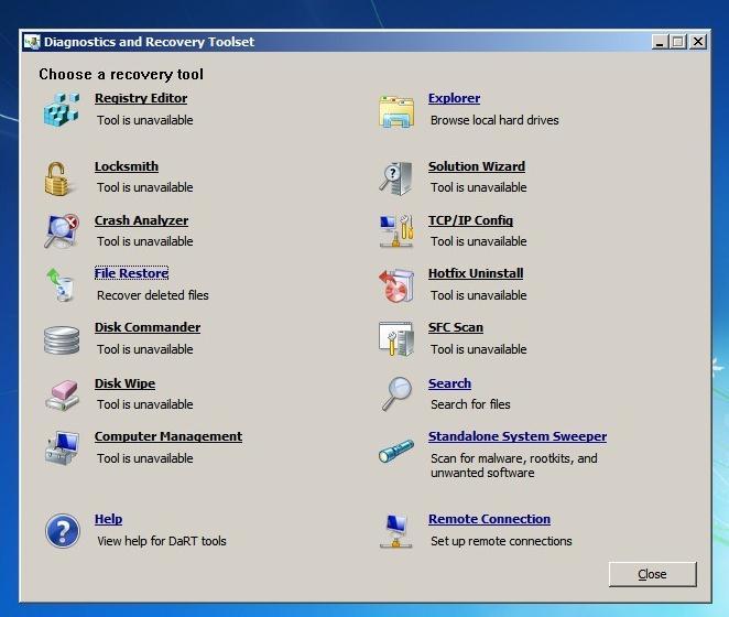 утилиты MSDaRT Tools в MsDaRT 7.0.