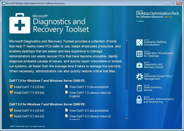Diagnostics and Recovery Toolset  - MSDaRT 7.0