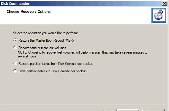 Disk Commander - восстановление разделов