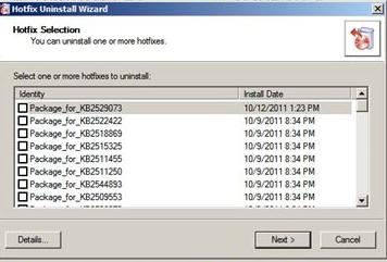 Hotfix Uninstall - удаление обновлений Windows