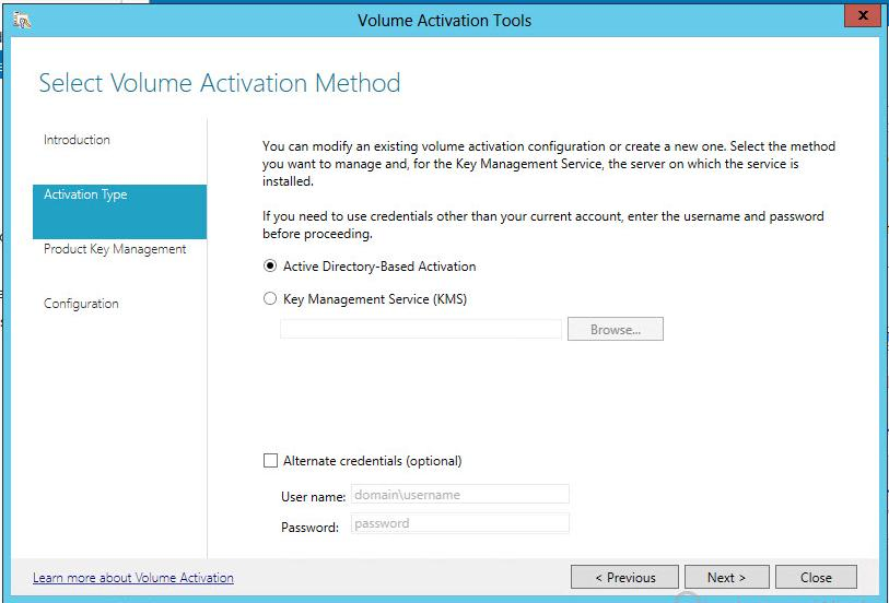 Установка в windows 2012 active directory based activation
