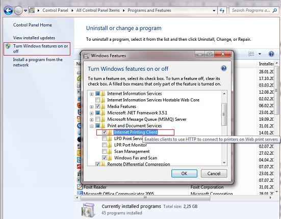 Включить поддержку IPP печати в windows7