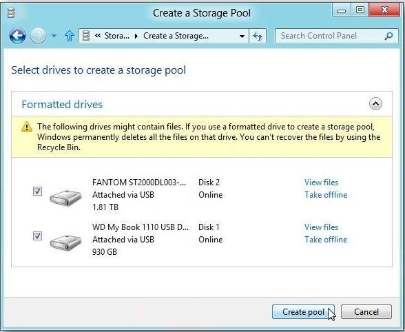 Выбираем диски, из которых будет состоять storage pool в windows 8