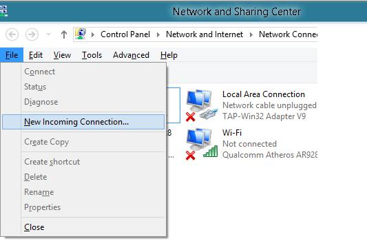 Меню incoming vpn connection win 8