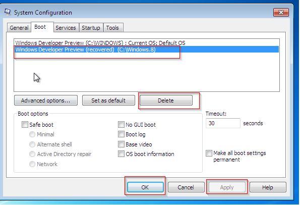 msconfig удалить загрузочную запись windows 8