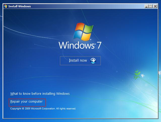 Запуск восстановления windows 7