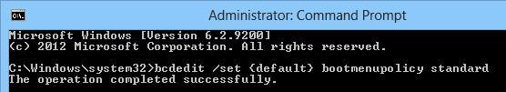 windows 8 bcdedit возврат к графическому загрузчику