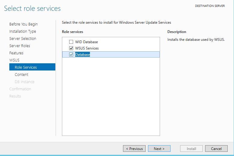 Установка базы данных wsus windows 2012