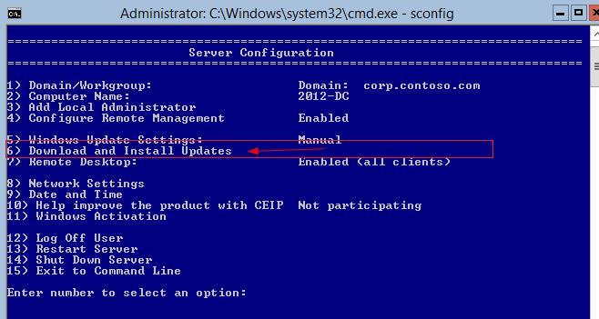 Скачать и установить обновления на windows server 2012 core