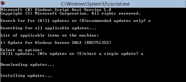 Устанавливаются обновлений на windows core 2012