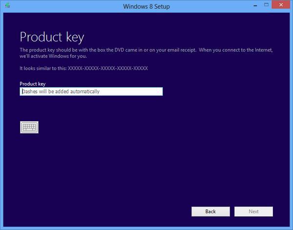 Необходимо указать ключ при установке Windows 8