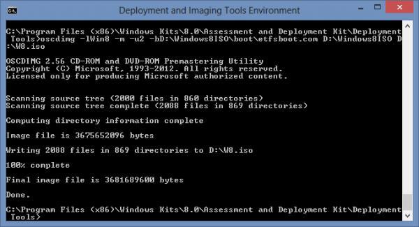 oscdimg - создать загрузочный iso образ из распакованной windows 8