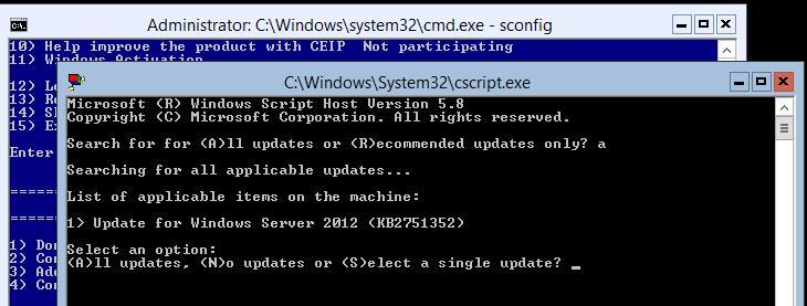 Выбор устанавливаемых обновлений windows 2012 core