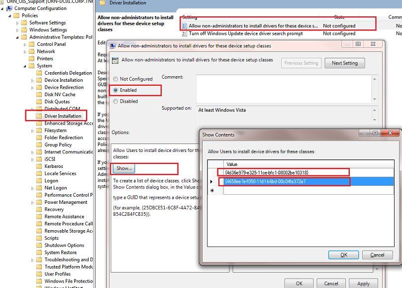 Задаем классы устройств, которые пользователи могут устанавливать без прав администратора