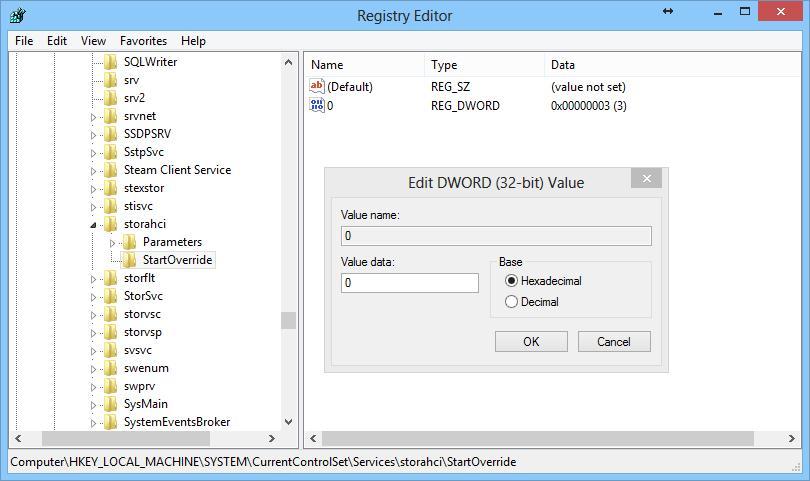 Включаем поддержку ahci в windows 8 через реестр