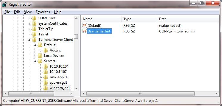 remote desktop client - сохраняет имена удаленных пользователей