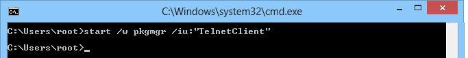 Активируем клиент telnet из командной строки windows 8