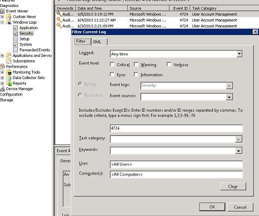 Фильтрация и поиск по ID события в журнале securiry windows