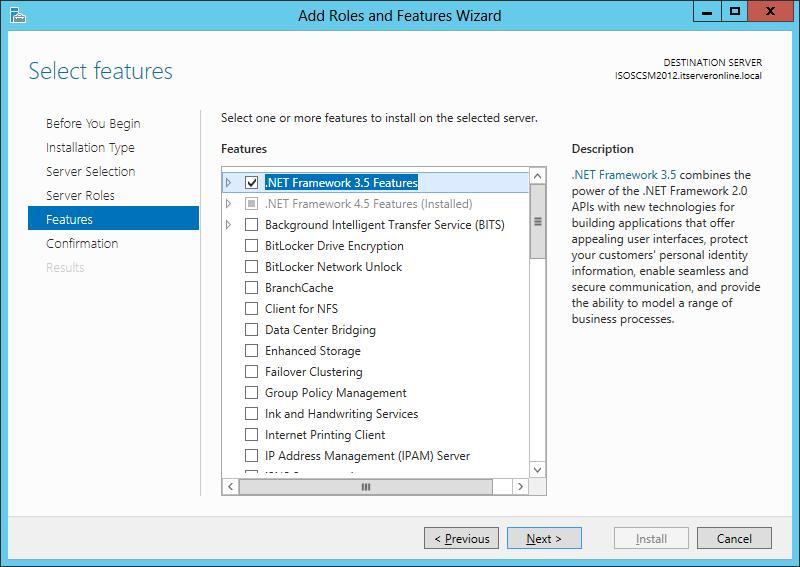 Установка .Net 3.5 в windows server 2012