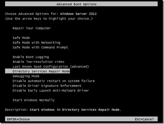 Как в Windows Server 2012 попасть в Directory Services Repair Mode