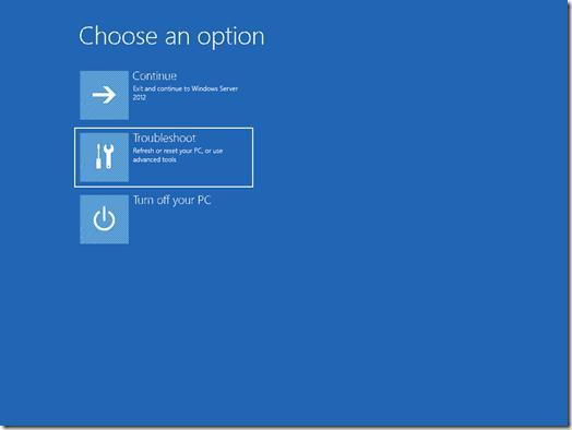 Загрузочное меню troubleshoot в Windows 2012