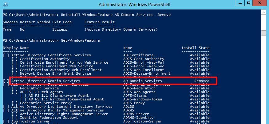 Удалить с диска роль Active Directory