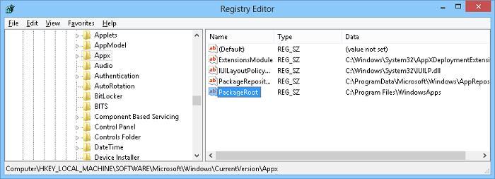 Где в windows 8 задается каталог для установку metro apps