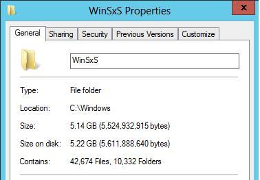 После очистки размер папки winsxs уменьшился на 3 Гб