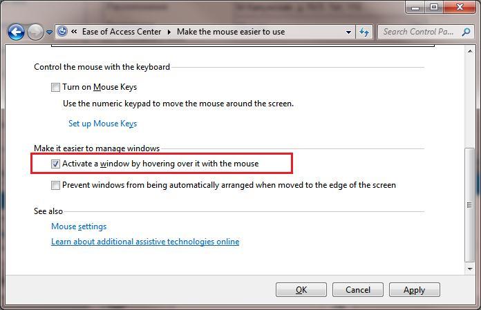 Автоматическая активация окна при наведении курсора в Windows 8