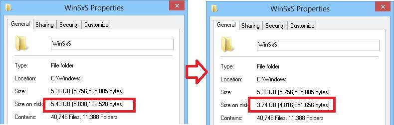 Размер папки winsxs в windows 8 уменьшился за счет сжатия