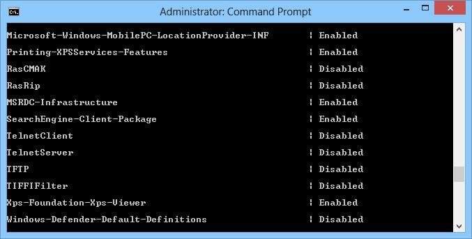 windows 8 получить список компонентов на диске в каталоге WINSXS