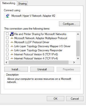 windows отключаем все протоколы и службу на сетевом подключении