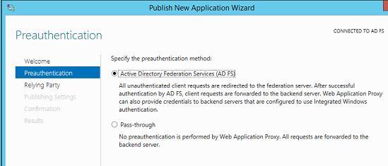 Указываем, что аутентификация пользователей осуществляется службой adfs