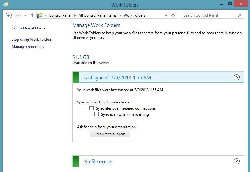Статус work folders в windows 8.1