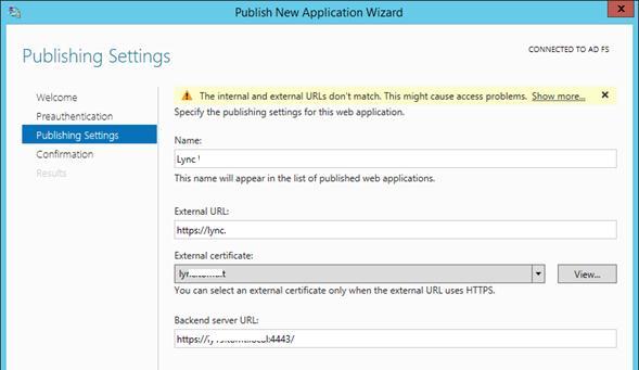 Публикация приложения с помощью web application proxy