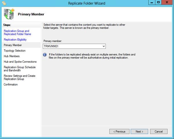 Первичный (primary) dfs сервер