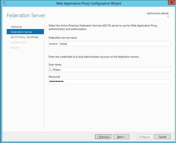 Указываем сервер adfs