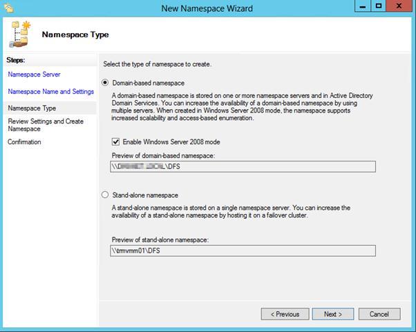 Пространсто имен dfs, интегрированное в Active Directory
