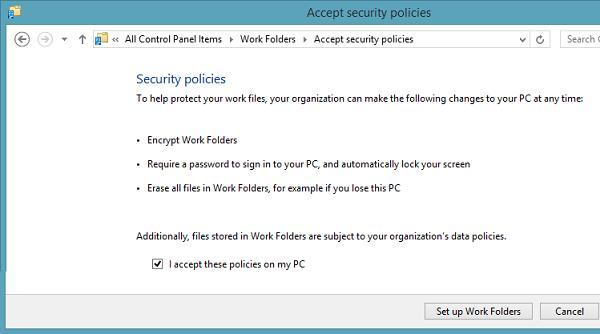 Принимаем политики безопасности work folders
