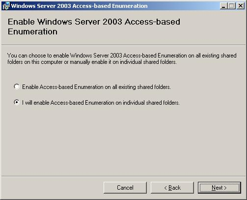 Установка пакета access based enumeration в windows 2003