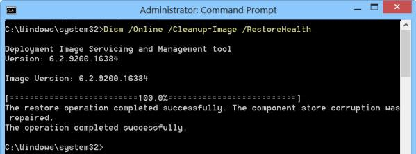 dism восстановление хранилища компонентов в windows 8