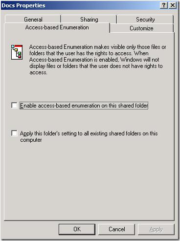 включить access base enumeration на шаре в windows server 2003