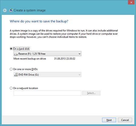 system image backup в windows 8.1 из графического интерфейса