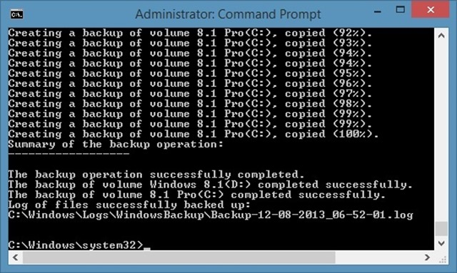 wbAdmin - бэкап образа системы windows 8.1 из командной строки
