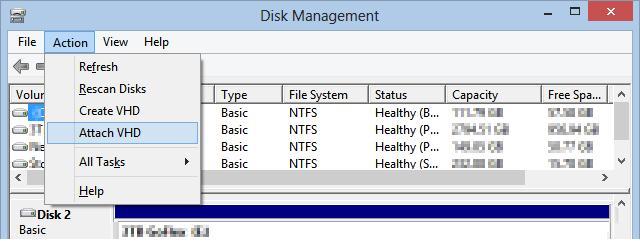 windows 8 подключить vhd диск с образом системы