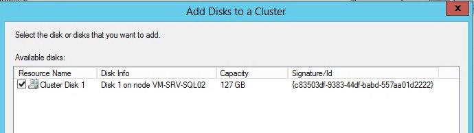 Добавляем новый общий vhdx диск в MS кластер