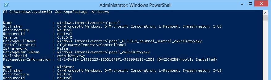 Get-AppxPackage - получить список установленных в системе приложений