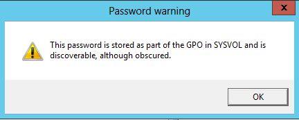 Предупреждение GPP в Windows Server 2012