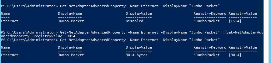 включаем jumbo frames в Windows 2012 с помощью poweshell