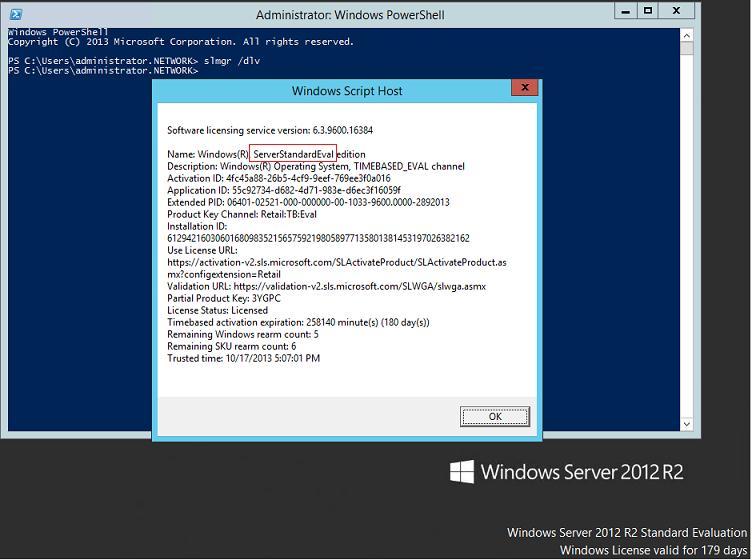 Как обновить триальную (evaluated) версию Windows Server 2012  R2 до полноценной
